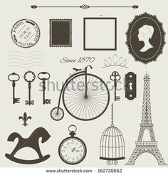 Vintage objects silhouettes vector set. Can be used for scrapbook, collage design.  by Cute little things, via Shutterstock
