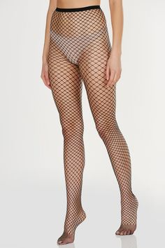 Trendy full length fishnet stocking with comfortable stretch for fit. - Imported - One size fits most - Available in Black & White