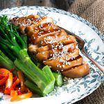 Teriyaki Chicken Breasts, cooked up easily in the oven. Use the sauce on chicken thighs, make skewers out of it, or use it on the BBQ.