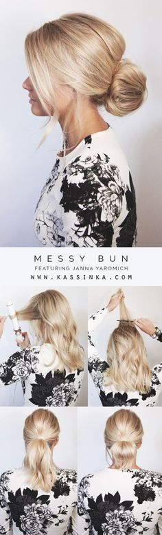 Introducing hair tutorials for shorter hair! When deciding on how the finished result of a messy bun should look, its important to keep in mind how the silhouette is formed. The low messy bun just hit