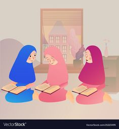 A muslim girl read quran islam Royalty Free Vector Image Girl Cartoon, Cartoon Art, Reading Cartoon, Quran Book, Islamic Cartoon, Anime Muslim, Hijab Cartoon, Art Drawings For Kids, Drawing Quotes