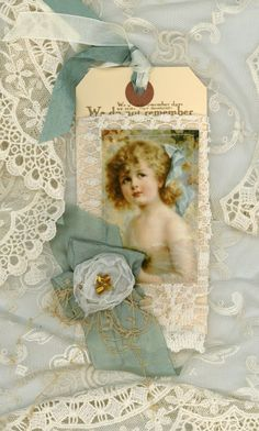 Gift tag fabric and lace Victorian child
