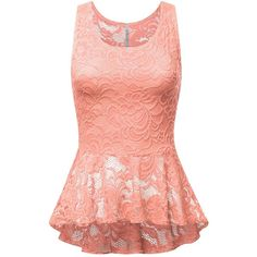FPT Womens Sleeveless Peplum Top PEACH SMALL at Amazon Women's... (2180 RSD) ❤ liked on Polyvore featuring tops, peplum tops, sleeveless tops, peach top, peach sleeveless top and sleeveless peplum top