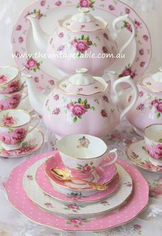 Royal Albert>>New Pink, Cheeky Pink and teacups of American Beauty!!!