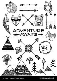 The Wild Woodland Clip Art Set includes 24 PNG files with transparent backgrounds and 24 JPG files w Paper Embroidery, Embroidery Files, Embroidery Patterns, 3d Laser Printer, Bear Clipart, Arrow Feather, Hipster, Clip Art, Digital Scrapbooking Layouts