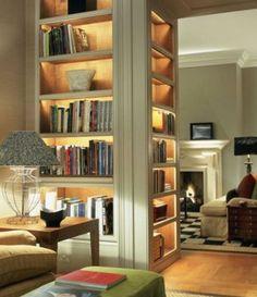 Lighting in the shelves, tea paper inners