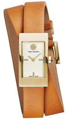 Tory Burch 'Buddy Signature' Rectangular Wrap Leather Strap Watch, 17mm x 31mm