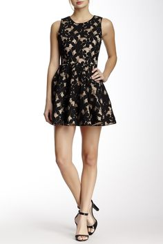 Gracia | Floral Mesh Flare Dress | Nordstrom Rack