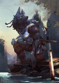 ~canine warrior illustration by OVOPACK (Ryota Murayama) Fantasy Races, High Fantasy, Furry Wolf, Furry Art, Fantasy Creatures, Mythical Creatures, Fantasy Character Design, Character Art, Werewolf Art