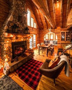 Cool 49 Beautiful Home Interior Cabin Style Design Ideas. Rustic charm is something that has gotten a lot of press lately. Some people like to feel like they're getting … Cabin Interior Design, Rustic Home Design, Cabin Design, Room Interior, Modern Design, Log Cabin Living, Log Cabin Homes, Log Cabins, Log Cabin Bedrooms