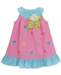 Rare Editions Flip-Flop Gingham-Print Ruffle Dress, Toddler and Little Girls - Purple 5 Kids Dress Wear, Toddler Girl Dresses, Little Girl Dresses, Girls Dresses, Toddler Girls, Toddler Fashion, Kids Fashion, Couture Bb, Baby Girl Dress Patterns