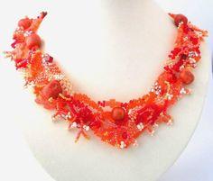 Bijoux de perles, collier de perles, graines Bijoux Collier, bijoux de forme libre, bijoux faits main, collier forme libre, été rouge orange