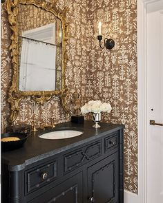 """MILIEU Magazine on Instagram: """"Powder room elegance created by Carol Glasser and Becky Cooper of @glassercooper for the MILIEU Designer Showhouse ✨Tap the photo for…"""" Powder Room Decor, Powder Rooms, Home Additions, Bath Design, Beautiful Bathrooms, Bathroom Interior, Home Remodeling, Elegant, Magazine"""