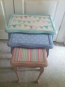Shabby chic pink,blue egg nest of tables painted in Annie Sloan Shabby Chic Nest Of Tables, Shabby Chic Dresser, Shabby Chic Furniture, Shabby Chic Kitchen Decor, Shabby Chic Bedrooms, Shabby Chic Decor Living Room, Chic Home Decor, Shabby Chic Outdoor Furniture, Shabby Chic Homes