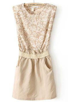 Khaki Sleeveless Floral Bandeau Pockets Dress - Sheinside.com