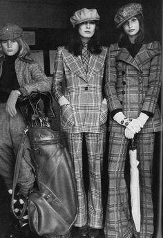 deshistoiresdemode:    Apollonia van Ravenstein & Anjelica Huston & Paul by Jean-François Jonvelle _ Vogue UK, October 1971.