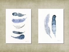 Set of 2 art print cards. Blue and white feather by TheClayPlay