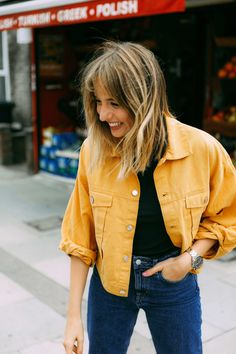 Yellow Denim Jacket from Weedkdays | Autumn outfit inspiration