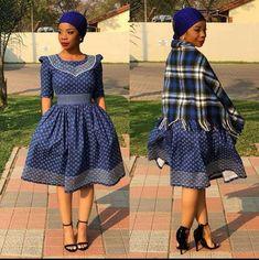 Amazing Shweshwe Print Gown For Women 2019 ShweShwe 1 Setswana Traditional Dresses, South African Traditional Dresses, Traditional Wedding Attire, Traditional Weddings, Latest African Fashion Dresses, African Dresses For Women, African Print Dresses, African Men, African Wedding Attire