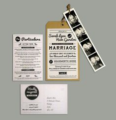 One off wedding invite design - all elements (inc. travel tag invite, photo strip, RSVP postcard and the particulars/ details sheet), designed using Adobe Illustrator and InDesign. *CLICK IMAGE TO SEE MORE*