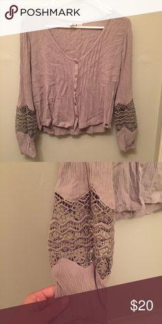 ROXY blouse w/ crochet sleeves worn once Roxy Tops Blouses
