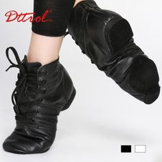 Brand new high quality leather jazz boots hip hop dance boots split soles black color lace up -in Boots from Shoes on Aliexpress.com