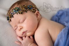 Royal Blue and Gold Halo Headband Beaded by TheFairyFactoryShop