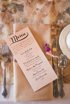 super cute wedding menu centered around moments in the newlyweds relationship