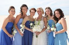 varying shades of blue bridesmaids dresses - Google Search