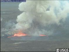 Kīlauea.  This Quicktime movie shows a small explosive event that occurred at 1:20pm today at the summit lava lake. A collapse of a portion of the Halemaʻumaʻu Crater wall impacted the lake and triggered an explosion of spatter. Fist-size clasts were found scattered along the rim of Halemaʻumaʻu Crater near the closed visitor overlook.