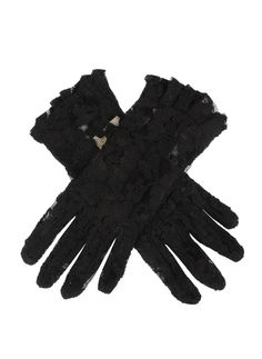 Black women's delicate lace gloves with ruffled cuffs for added detail. Composition: Nylon Lining: Unlined Button Length: 4 B/L – These gloves extend approximately 3 inches above the wrist. Lace Gloves, Summer Events, Kpop Outfits, Occasion Wear, Red Lips, How To Look Better, Delicate, Glamour, Pinky Swear