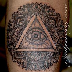all seeing eye mandala tattoo