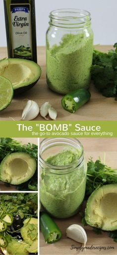 Bomb Sauce recipe.                                                                                                                                                     More Bomb Sauce, Avocado Health Benefits, Sauce Recipes, Cucumber, Pickles, Fresh, Cauliflowers, Dip Recipes, Pickle