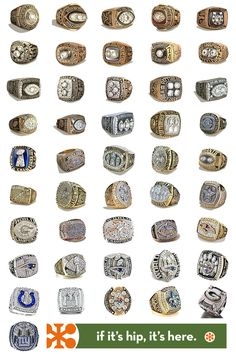 All The NFL Championship Rings (Super Bowl Rings) from 1966 to 2012.