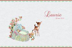 Geboortekaartje retro meisje - superlief - kindje met hertje - Pimpelpluis  https://www.facebook.com/pages/Pimpelpluis/188675421305550?ref=hl(# vintage - retro - nostalgie - nostaligisch - kindje - baby - dieren - lief - schattig - hert - hertje - mandje - bloemen - origineel)