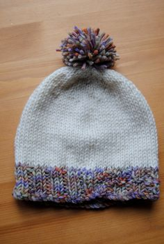 Knit Baby Hat with rainbow pompom & trim by HMFibres on Etsy, $22.00