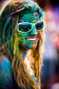 San Francisco photographer Thomas Hawk has a great collection of portraits taken during the 2012 Holi Festival of Colors (previously) at Spanish Fork, Utah earlier this year.