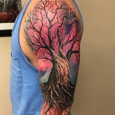 45 Attractive Big Tattoo Ideas For Men - Tattoos Tree Sleeve Tattoo, Back Tattoo, Sleeve Tattoos, Tree Tattoo Men, Modern Tattoos, Unique Tattoos, Beautiful Tattoos, Amazing Tattoos, Funny Tattoos