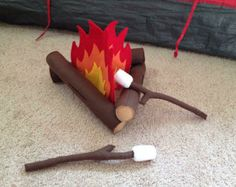 Felt Campfire Bundle With Smores And Roasting By ThreeWeeMonkeys Woodlands Camping Summer Camp Themes