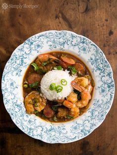This is soOooo delicious! Shrimp Gumbo with Andouille Sausage ~ A Cajun style shrimp gumbo with andouille sausage.  ~ SimplyRecipes.com