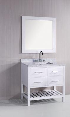 bathroom vanity with open storage area