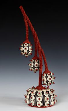 """Joanne Russo's """"Bell Flower and Buds"""" woven sculpture"""