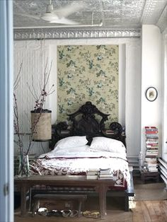 Bohemian bedroom love the silver ceiling tiles!!! where can I get these and how much?