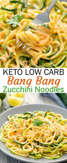 Zucchini noodles are served in a . Zucchini-Nudeln werden in einer Low-Carb-Version… Keto Bang Bang zucchini pasta. Zucchini noodles are served in a low carb version … – - Healthy Meals, Easy Meals, Healthy Recipes, Easy Recipes, Keto Veggie Recipes, Zoodle Recipes, Vegetarian Low Carb Meals, Easy Diabetic Meals, Veggie Diet