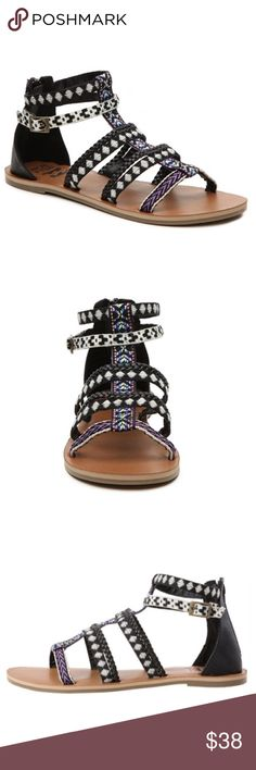 HP🎉 Billabong Black White Purple Gladiator Sandal Carpe diem! Live up each day with the Billabong Women's Seas The Day Sandal. Brand new in the original box. Geometric patterned fabric and faux leather upper. Back zipper for easy on/off. Ankle strap with adjustable buckle. Braided details. EVA midsole. Rubber sole. Billabong logo at heel footbed. Billabong Shoes Sandals