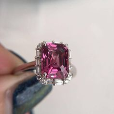 3 Carat Rhodolite Garnet Engagement Ring Baguette Diamond Ring