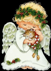 The Letter N ❤️💚 CHRISTmas Angel and Kitten GIF Awe! How gorgeous, and thank you my sweet Annie Bluebird. Christmas Graphics, Christmas Clipart, Vintage Christmas Cards, Christmas Printables, Christmas Pictures, Christmas Angels, Christmas Art, All Things Christmas, Xmas