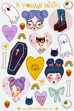 """"""" Sticker Sheets are here! Each sheet includes 26 individual stickers including cats, rainbows and other cool stuff. Also I'm giving away a free random print of either 'Red Lips' or. Ouvrages D'art, Art Kawaii, Wow Art, Arte Pop, Creepy Cute, Art Design, Art Sketchbook, Cute Drawings, Planner Stickers"""