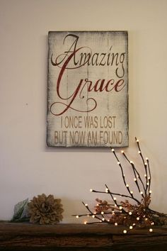 Amazing Grace Distressed Wood Sign Pallet Wood Sign Distressed Wood Sign Religious Christian Wall Decor Housewarming Gift Vintage Wood Sign by marjorie