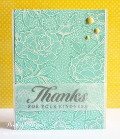 White emboss detailed background stamp, highlight/lowlight with blends les in same color. Or use watercolor ppr, and color wildly. Hero Arts Cards, Handmade Thank You Cards, Ppr, Embossed Cards, Sympathy Cards, Greeting Cards, Scrapbook Cards, Scrapbooking Ideas, Pretty Cards